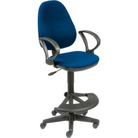 Work Stool - Fabric -  180° Footrest - Blue