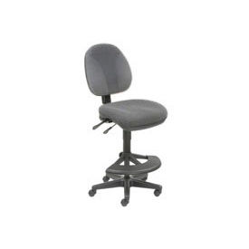 Interion™ Synchro Task Stool - 180° Footrest Without Arms - Gray