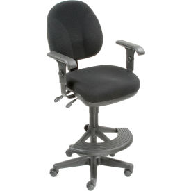 Synchro Task Stool - 180° Footrest With T-Arms - Black