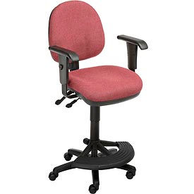 Interion™ Synchro Task Stool - 180° Footrest With T-Arms - Burgundy