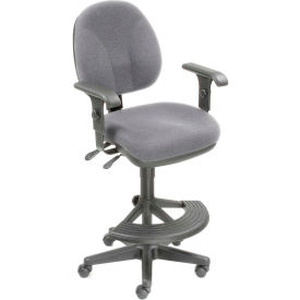 Interion™ Synchro Task Stool - 180° Footrest With T-Arms - Gray