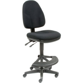Interion™ Synchro Operator Stool - 180° Footrest Without Arms - Black