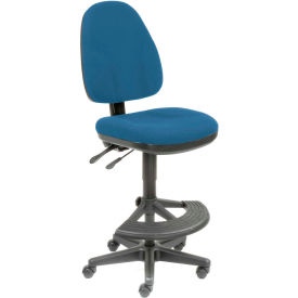 Interion™ Synchro Operator Stool - 180° Footrest Without Arms - Blue