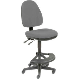 Interion™ Synchro Operator Stool - 180° Footrest Without Arms - Gray