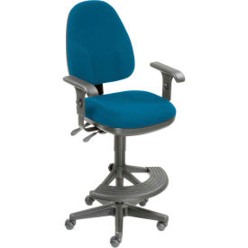 Interion™ Synchro Operator Stool - 180° Footrest With T-Arms - Blue