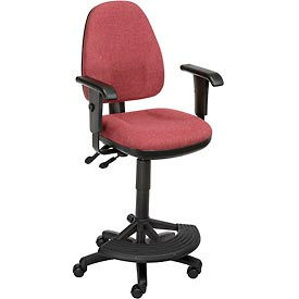 Synchro Operator Stool - 180° Footrest With T-Arms - Burgundy