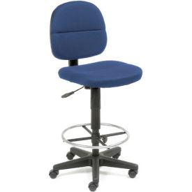 Drafting Stool - Fabric - 360° Footrest - Blue