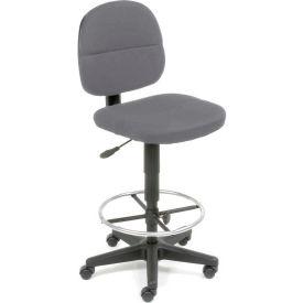 Drafting Stool - Fabric - 360° Footrest - Gray