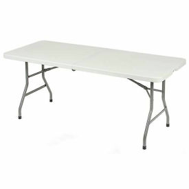 Interion™ Plastic Folding Table 6 Foot Fold-In-Half Table