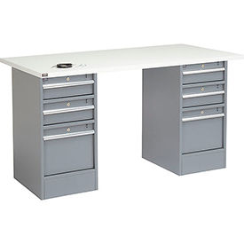 "72"" W x 30"" D Pedestal Workbench W/ 6 Drawers, ESD Square Edge - Gray"