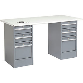 72 X 30 Esd Safety Edge Top Pedestal Workbench W/ 6 Drawers