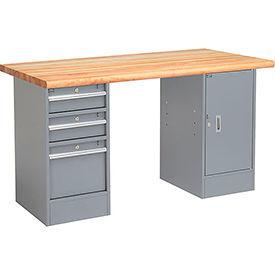 "72"" W x 30"" D Pedestal Workbench W/ 3 Drawers & Cabinet, Maple Butcher Block Safety Edge - Gray"