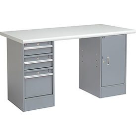 "60"" W x 30"" D Pedestal Workbench W/ 3 Drawers & 1 Cabinet, Plastic Laminate Safety Edge - Gray"
