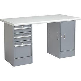 "72"" W x 30"" D Pedestal Workbench W/ 3 Drawers & 1 Cabinet, Plastic Laminate Safety Edge - Gray"