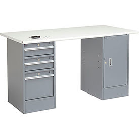 "72"" W x 30"" D Pedestal Workbench W/ 3 Drawers & Cabinet, ESD Safety Edge - Gray"