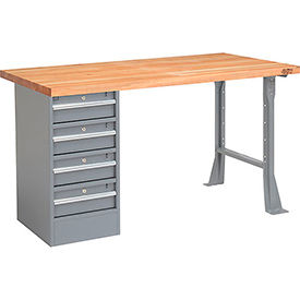 "60"" W x 30"" D Pedestal Workbench W/ 4 Drawers, Maple Butcher Block Square Edge - Gray"