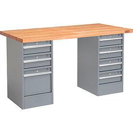 """72"""" W x 30"""" D Pedestal Workbench W/ 7 Drawers, Maple Butcher Block Square Edge - Gray"""