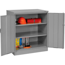 Counter Height Industrial Storage Cabinet 36x24x42 Medium Grey