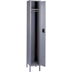 Tennsco Steel Locker STK-121260-1 02 - Single Tier w/Legs 1 Wide 12x12x60 Unassembled, Medium Grey