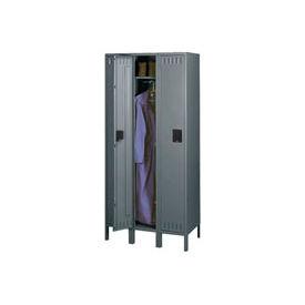 Tennsco Steel Locker STK-121260-3-MGY - Single Tier w/o Legs 3 Wide 12x12x60 Unassembled, Med. Grey
