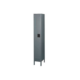 Steel Locker Single Tier 12x12x72 With Legs 1 Door Ready To Assemble Medium Grey