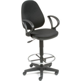 Interion™ Ergo Fabric Stool - 360 Degree Footrest - Black