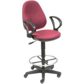 Interion™ Ergo Fabric Stool - 360 Degree Footrest - Burgundy