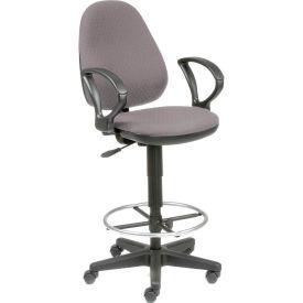 Interion™ Ergo Fabric Stool - 360 Degree Footrest - Gray