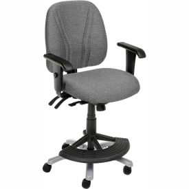 Interion™ Synchro Manager Stool - 180° Footrest With T-Arms - Gray