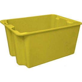 "Molded Fiberglass Toteline Nest and Stack Tote 780708 - 27-1'2"" x 20"" x 14-1/8"", Pkg Qty 5, Yellow - Pkg Qty 5"