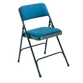 """1-1/4"""" Upholstered Folding Chair - Double Braced Blue Fabric & Frame - Pkg Qty 4"""