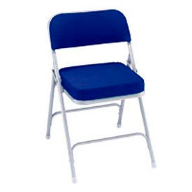 """2"""" Upholstered Folding Chair - Double Braced Blue Fabric & Gray Frame - Pkg Qty 2"""