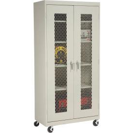 Sandusky Mobile Clear View Storage Cabinet TA4V362472 - 36x24x78, Putty