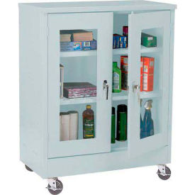 Mobile Easy View Storage Cabinet Assembled 46x18x48 - Light Gray