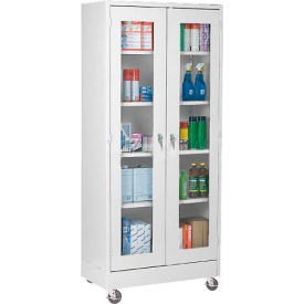 Mobile Easy View Storage Cabinet Assembled 46x18x78 - Light Gray
