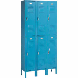 Penco 6211V-3-806SU Vanguard Locker Pull Latch Double Tier 12x12x30 6 Doors Assembled Marine Blue