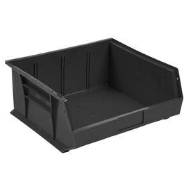 Quantum Plastic Stacking Bins - Parts Storage Bin QUS245 16-1/2 x 10-7/8 x 5 Black - Pkg Qty 6