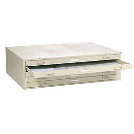 """Interion™ Flat File Cabinet – 5 Drawer - 41""""W – Putty"""