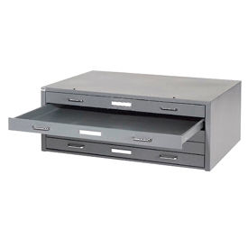 """Interion® - Blueprint Flat File Cabinet – 5 Drawer - 41""""W – Gray"""