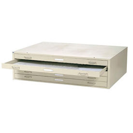 """Interion™ Flat File Cabinet – 5 Drawer - 54"""" – Putty"""