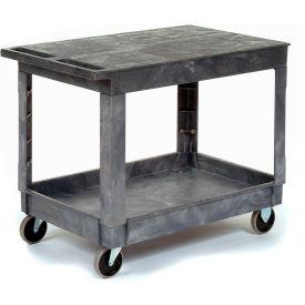 Best Value Plastic Flat Top Shelf Service & Utility Cart - 5 Inch Rubber Casters