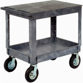 "Best Value Plastic Flat Top Shelf Service & Utility Cart 8"" Pneumatic Caster"