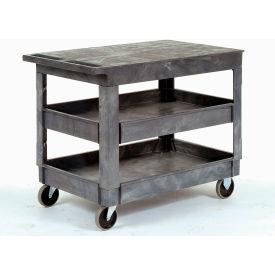 "Best Value Plastic Flat Top Shelf Service Cart 2 Tray Shelves 5"" Casters"