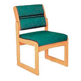 Single Chair Without Arms Medium Oak Green Fabric