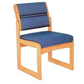 Single Chair Without Arms Light Oak Blue Fabric