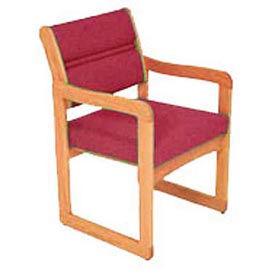 Single Chair With Arms Medium Oak Burgundy Fabric