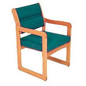 Single Chair With Arms Medium Oak Green Fabric