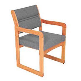 Single Chair With Arms Medium Oak Gray Fabric
