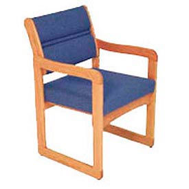 Single Chair With Arms Light Oak Blue Fabric