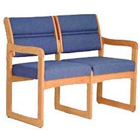 2 Seater Reception Sofa With 2 End Arms Medium Oak Blue Fabric